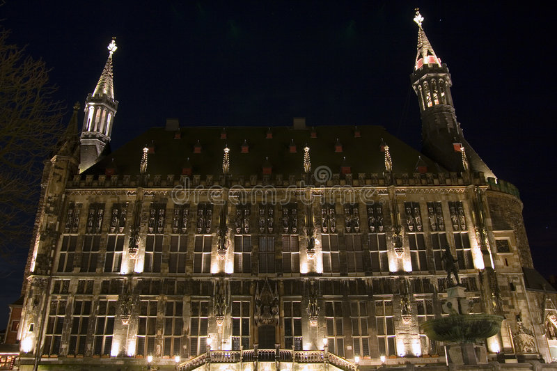 City hall of Aachen (Germany) at night stock photo