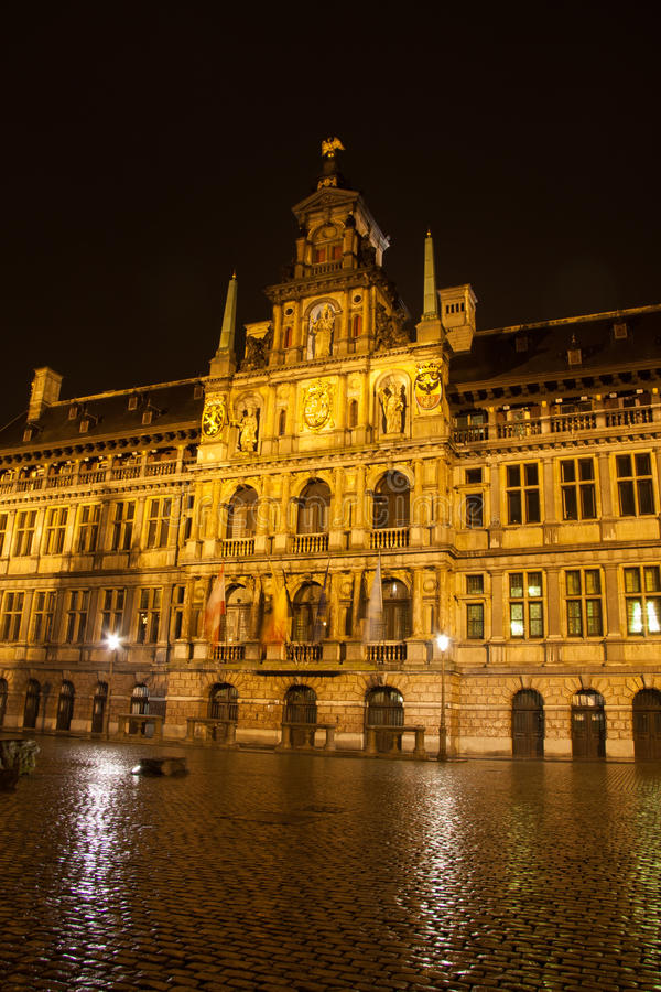 City Hall In Antwerp - Belgium - At Night Royalty Free Stock Photos