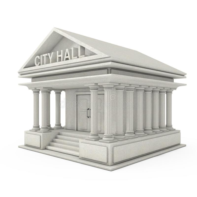 City Hall Architecture Public Government Building. 3d Rendering royalty free illustration
