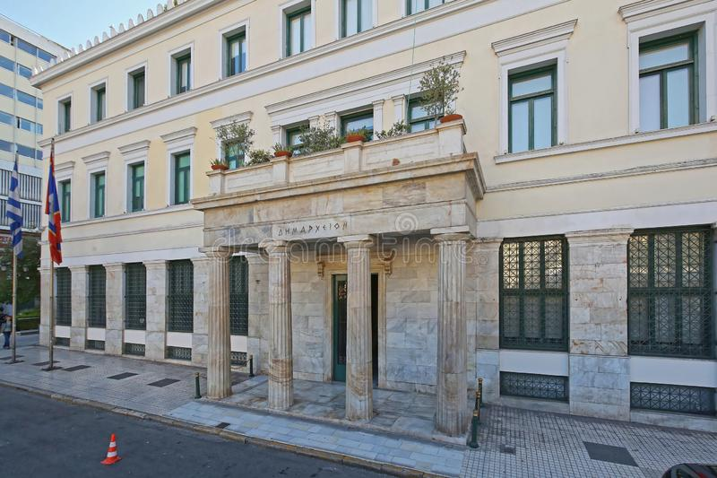 City Hall Athens. Athens, Greece - May 04, 2015: City Hall Administration Building in Athinas Street and Kotzia Square in Athens, Greece stock photos
