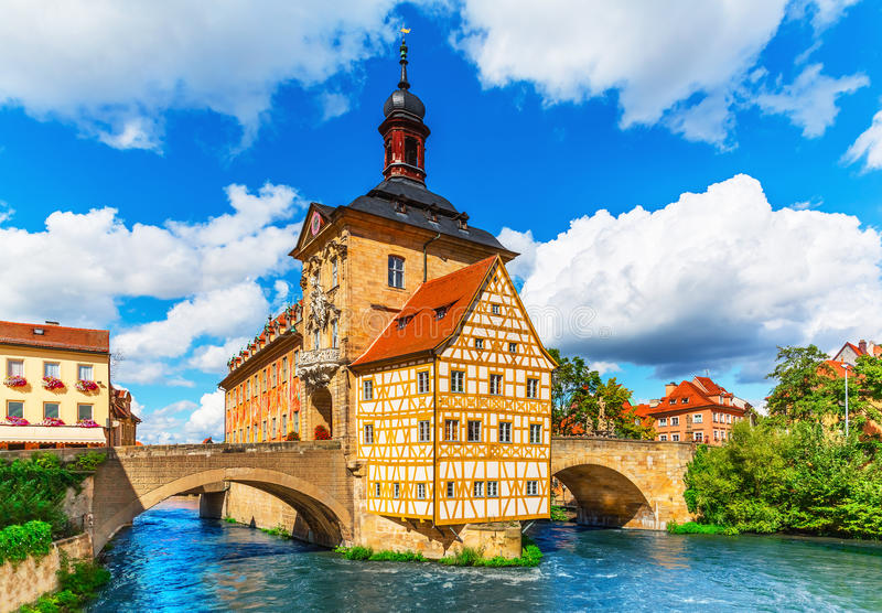 City Hall in Bamberg, Germany. Scenic summer view of the Old Town architecture with City Hall building in Bamberg, Germany stock images