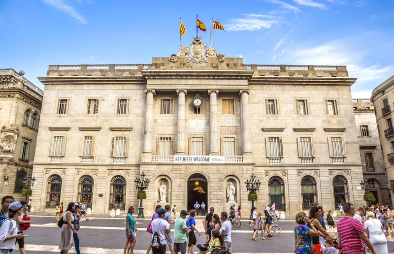 City Hall in Barcelona. BARCELONA, SPAIN - JULY 8, 2016: City Hall on Placa de Sant Jaume. The Palau de la Generalitat is a historic palace in Barcelona royalty free stock photography