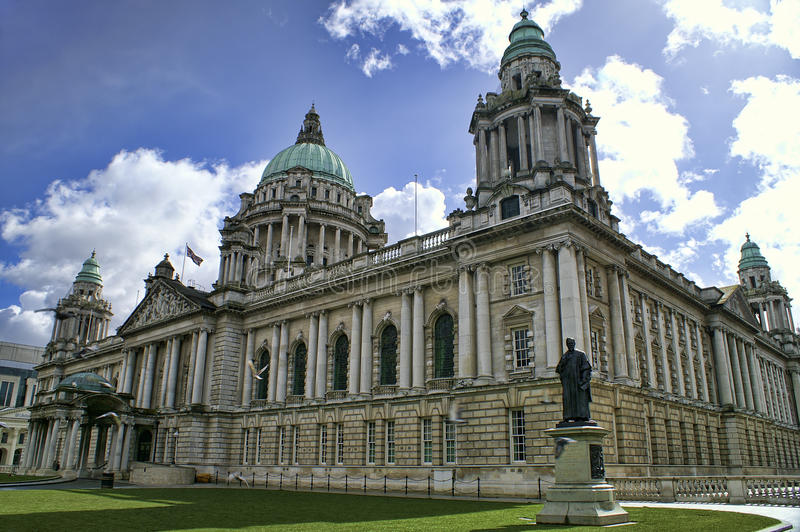 City Hall, Belfast Northern Ireland. Beautiful Picture of City Hall in Belfast Northern Ireland, with bright blue sky royalty free stock images