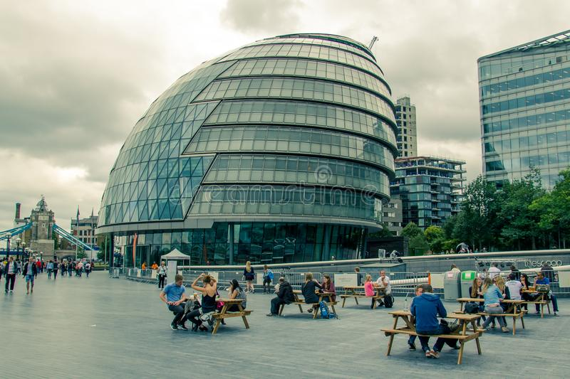 The City Hall building designed by Norman Foster, has solar pane royalty free stock photos