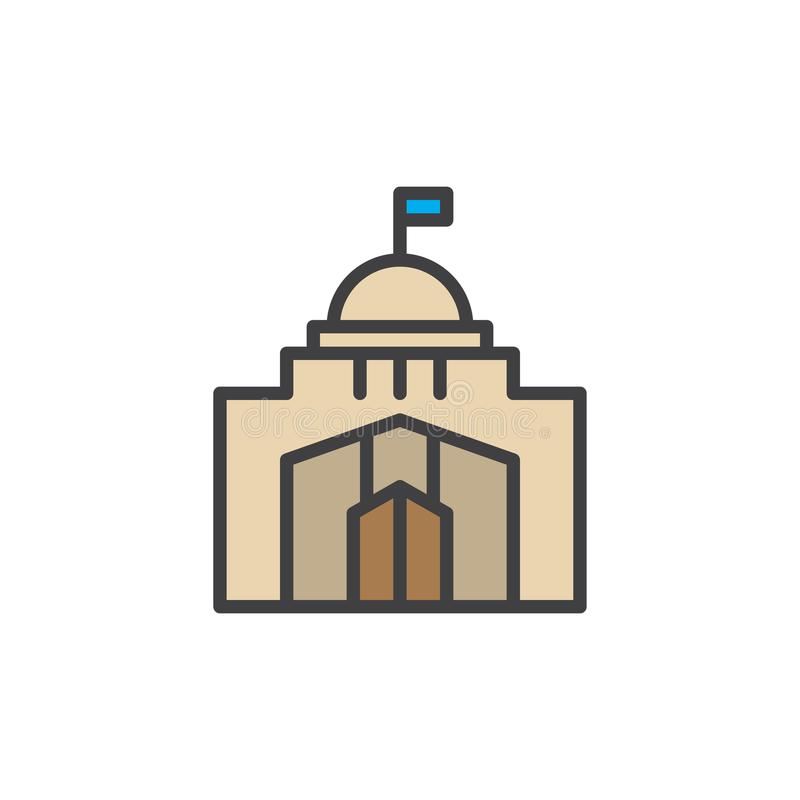 City hall building filled outline icon. Line vector sign, linear colorful pictogram isolated on white. Capitol symbol, logo illustration. Pixel perfect vector vector illustration