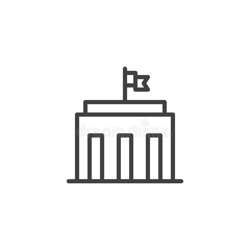 City hall building line icon royalty free illustration