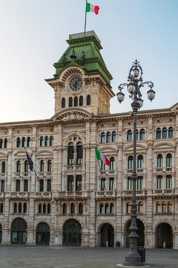 City Hall building on Trieste, Italy. TRIESTE, ITALY - AUGUST 4, 2015: View with The City Hall building on Trieste`s main square Piazza dell Unita d`Italia royalty free stock photo