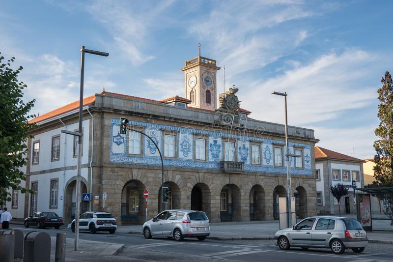 City Hall / Camara Municipal of Povoa de Varzim in Praca do Almada with traditional azulejo tiles. On facade. Povoa de Varzim, Porto district, Portugal stock photos