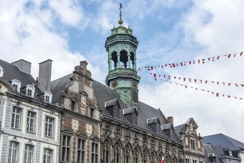City Hall on the central square in Mons, Belgium. Gothic style City Hall and it's renaissance bell tower on the central square in Mons, capital of the Wallonian royalty free stock images