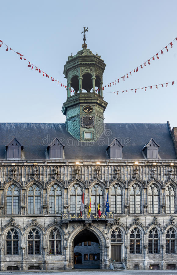 City Hall on the central square in Mons, Belgium. Gothic style City Hall and it's renaissance bell tower on the central square in Mons, capital of the Wallonian stock photos