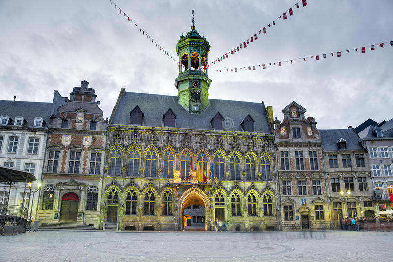 City Hall on the central square in Mons, Belgium. Gothic style City Hall and it's renaissance bell tower on the central square in Mons, capital of the Wallonian royalty free stock photo