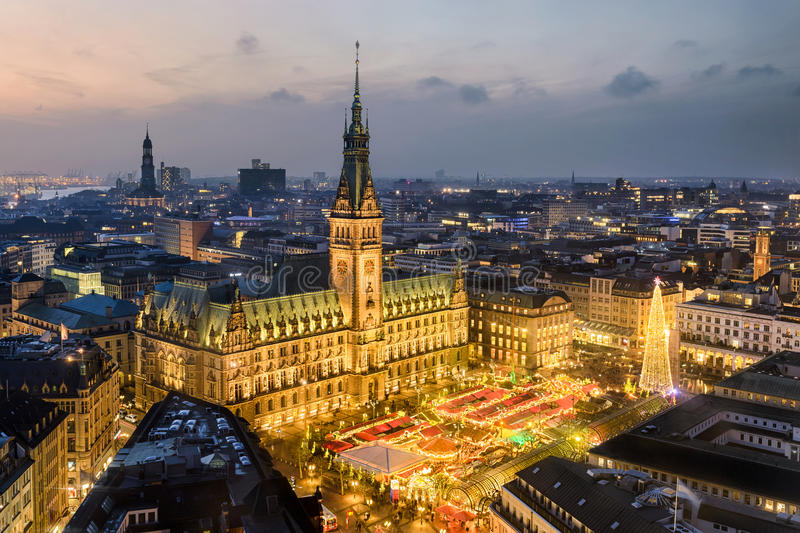 City Hall and Christmas market in Hamburg, Germany. Aerial view of the City Hall with the Christmas market in Hamburg, Germany stock photos