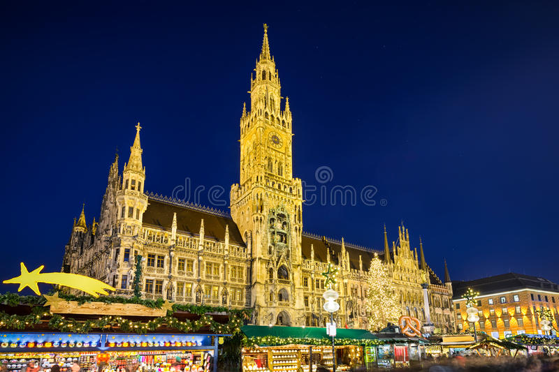 City Hall and Christmas market in Munich, Germany stock photo