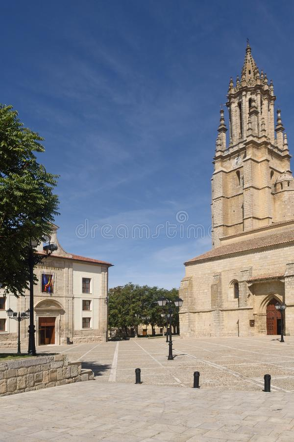 City hall and Church of San Miguel in Ampudia. Spain stock images