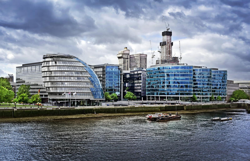 City hall and Corporate Office Blocks, London. City hall and Corporate Office Blocks on riverside of Thames, London stock photo