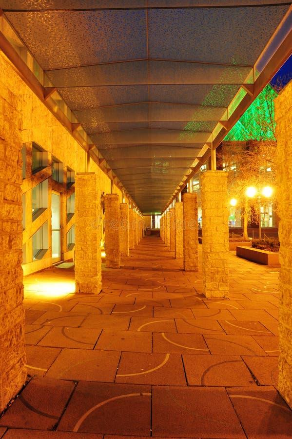 City hall corridor night scene. The exterior look of the city hall in night lighting, edmonton, alberta, canada stock image