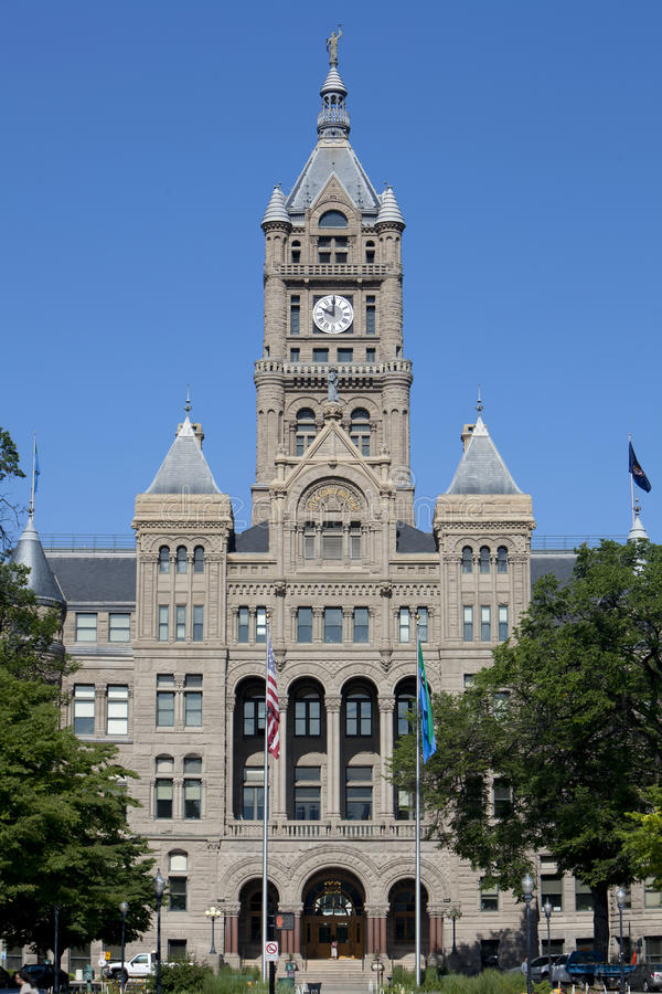City Hall & County Building. The Salt Lake City and County government building. The building's surface is elaborately carved from the gray Utah Kyune sandstone stock photo