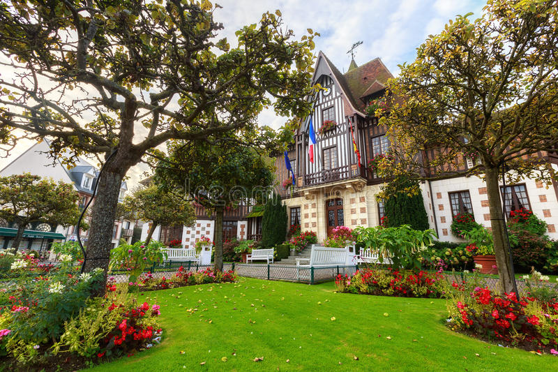 City Hall in Deauville, Normandy, France. Photo taken in Deauville, Normandy, France royalty free stock photo