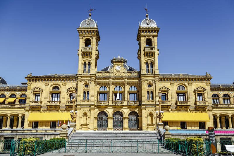 City Hall of Donostia San Sebastian Spain. San Sebastian, Spain - August 22, 2016: City Council in San Sebastian, Spain. Its premises are located in the former royalty free stock photography