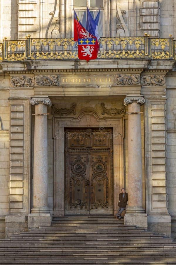 City hall facade Lyon France stock photos