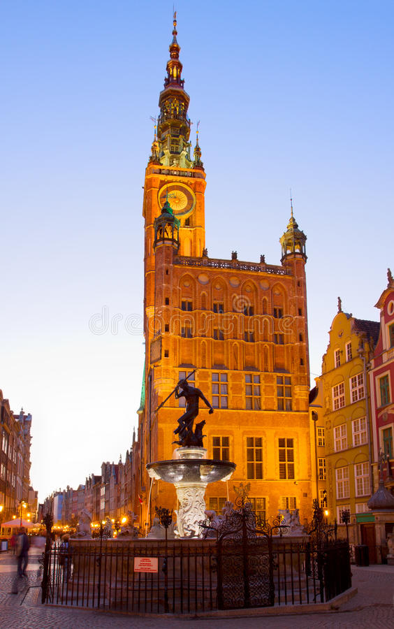 Download City Hall Of Gdansk At Night Stock Image - Image: 30966073
