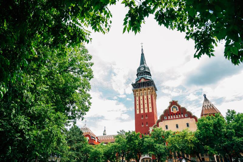 City hall with green trees in Subotica, Serbia. Europe stock images