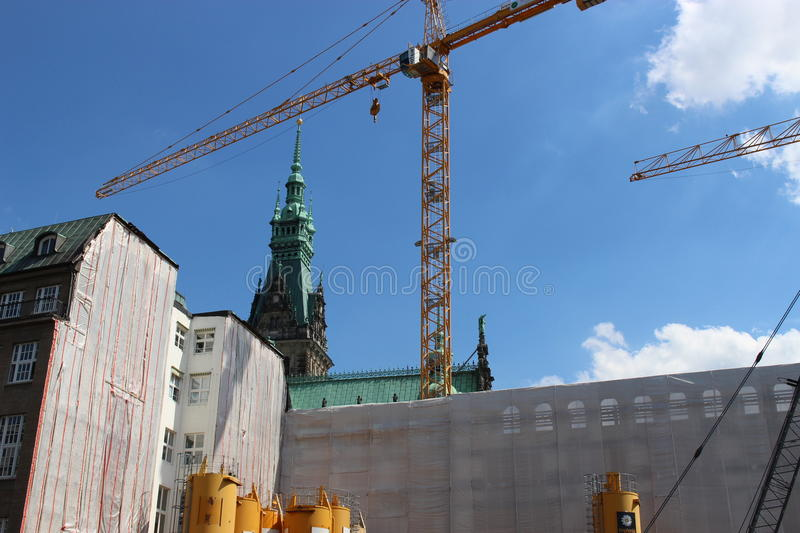 The city hall of Hamburg in Germany, Europe. Construction works beneath. Photo taken in summer 2015 royalty free stock images