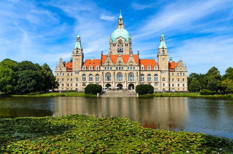 City Hall of Hannover, Germany. In summer with reflection in a lake royalty free stock photo