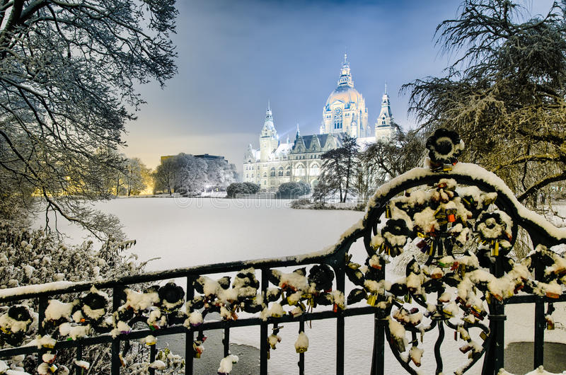 City Hall of Hannover, Germany in winter. City Hall of Hannover, Germany on a winter night royalty free stock photos