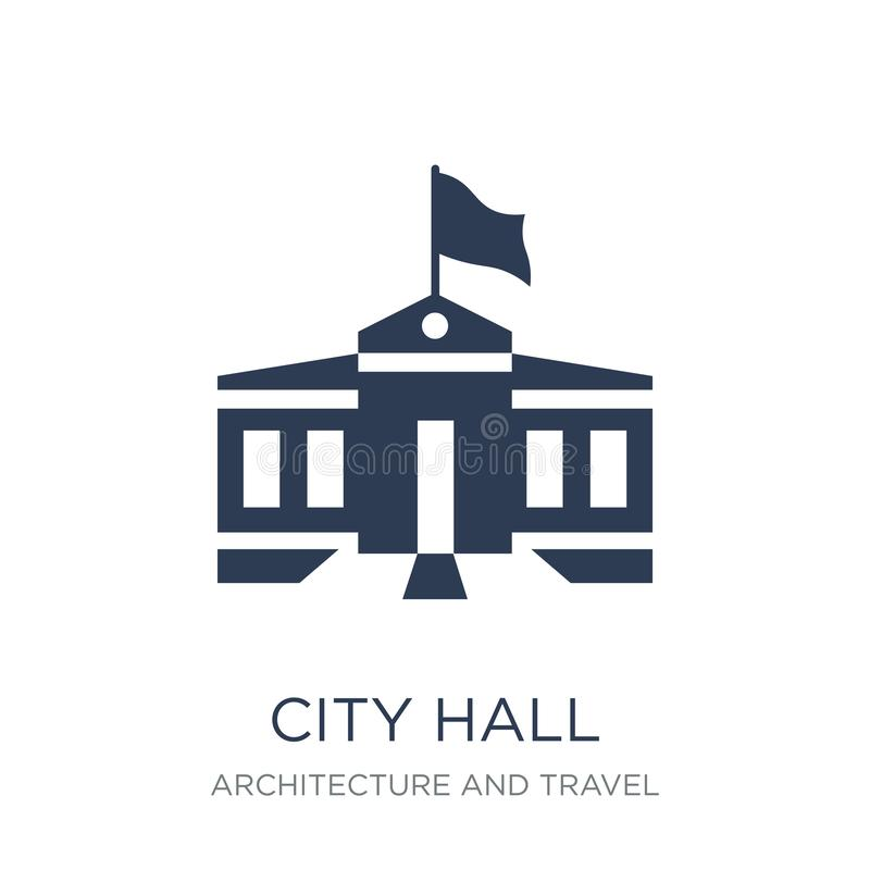 City hall icon. Trendy flat vector City hall icon on white background from Architecture and Travel collection. Vector illustration can be use for web and royalty free illustration