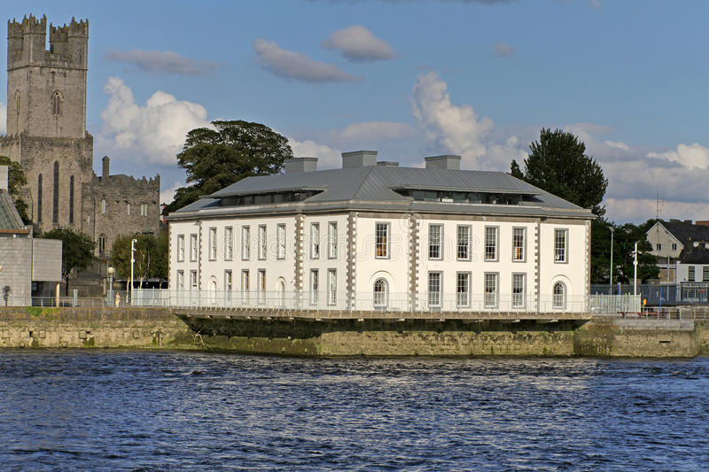 City hall in Limerick. Shannon river scenery in Limerick city with city hall, Ireland stock photography