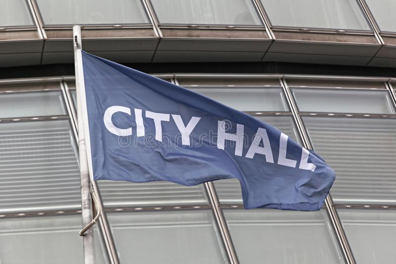 City Hall London. London, United Kingdom - January 25, 2013: City Hall Flag in Front of Office Building at Southwark in London, UK royalty free stock photo