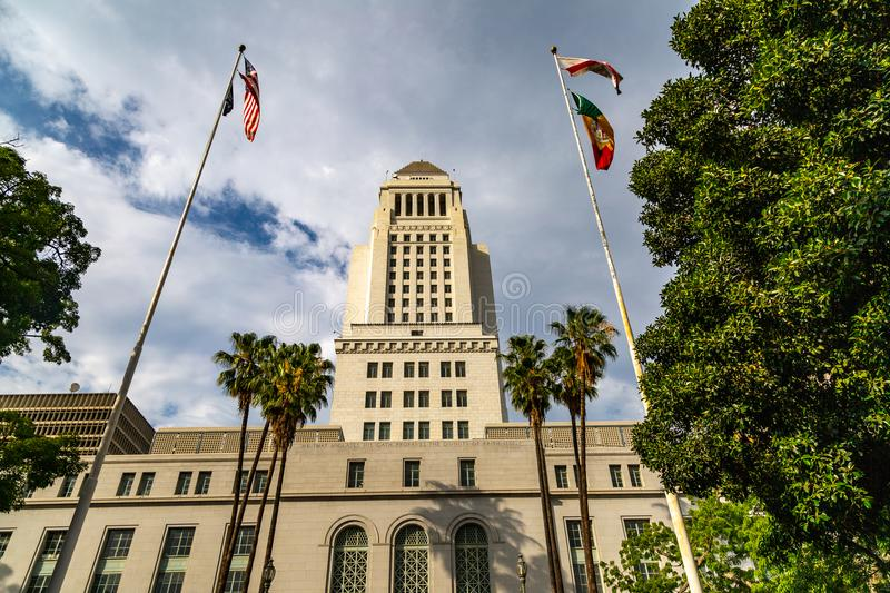 City Hall, Los Angeles. Art Deco style City Hall building in downtown Los Angeles, California stock photo
