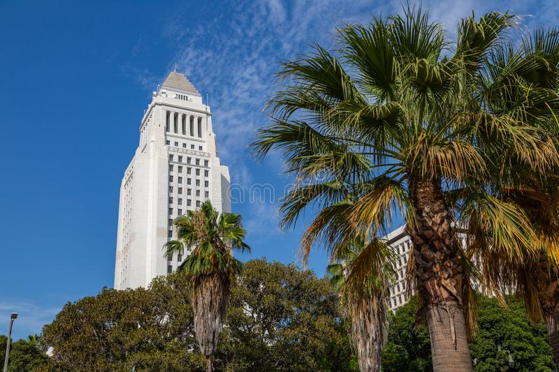 City Hall, Los Angeles. Art Deco style City Hall building in downtown Los Angeles, California stock photos