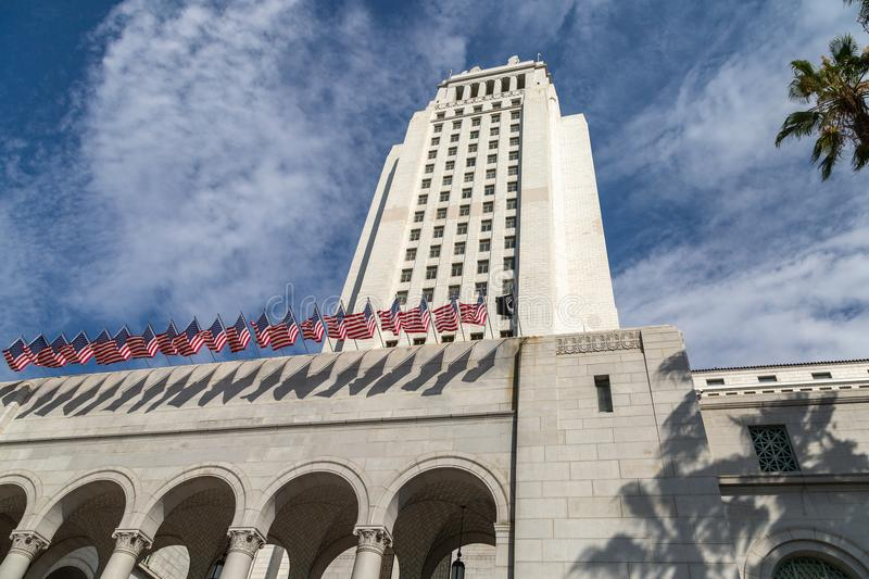 City Hall, Los Angeles. Art Deco style City Hall building in downtown Los Angeles, California stock image