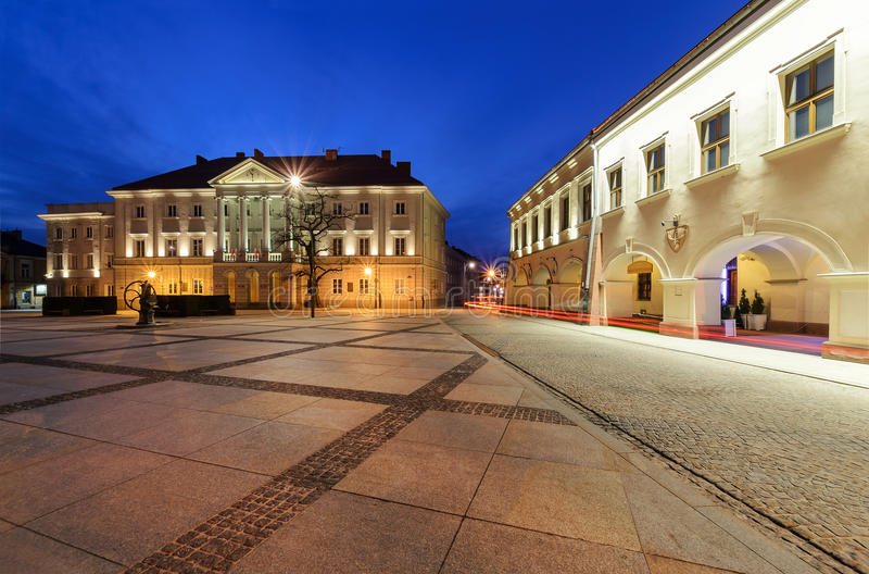 City Hall in main square Rynek of Kielce, Poland Europe. After sunset royalty free stock photo