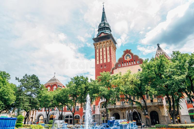 City hall and main square in Subotica, Serbia. Historic architecture stock images