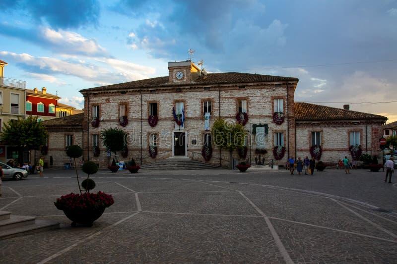 City Hall, market in Numana. Riviera del Conero in Italy, Marche region. royalty free stock photos