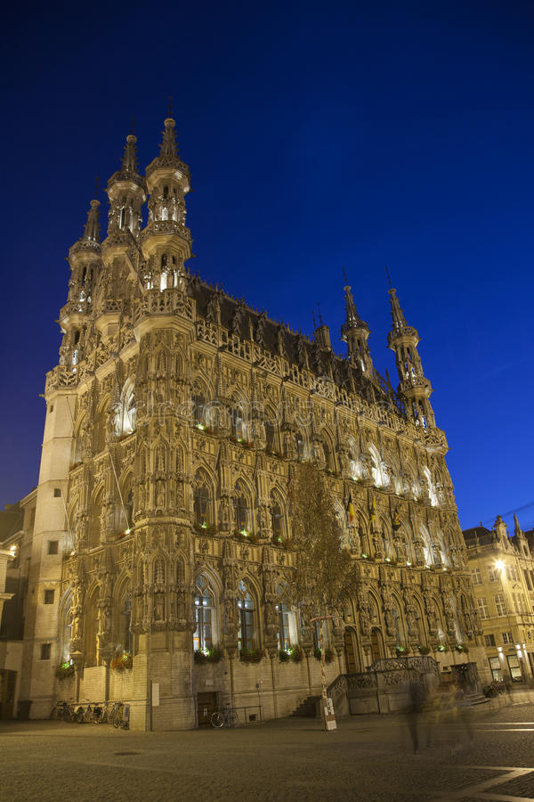 City Hall at Night, Leuven royalty free stock photography