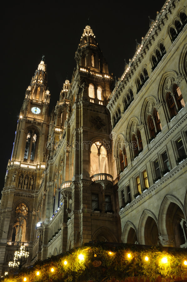 City Hall At Night In Vienna, Austria stock photos