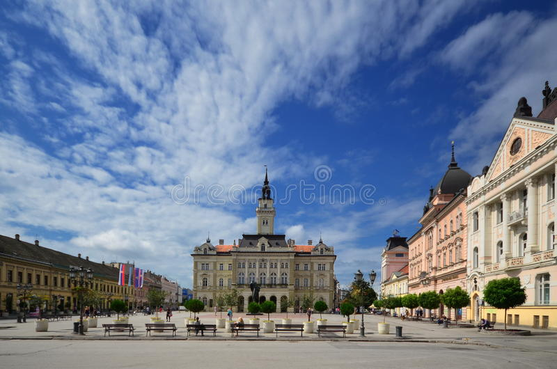 The city hall in Novi Sad. Novi Sad is the second largest city in Serbia, the administrative center of one of the northern districts Vojvodina. The city hall was royalty free stock photo