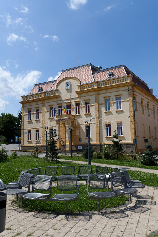 City hall Ocna Sibiu, Romania stock photos
