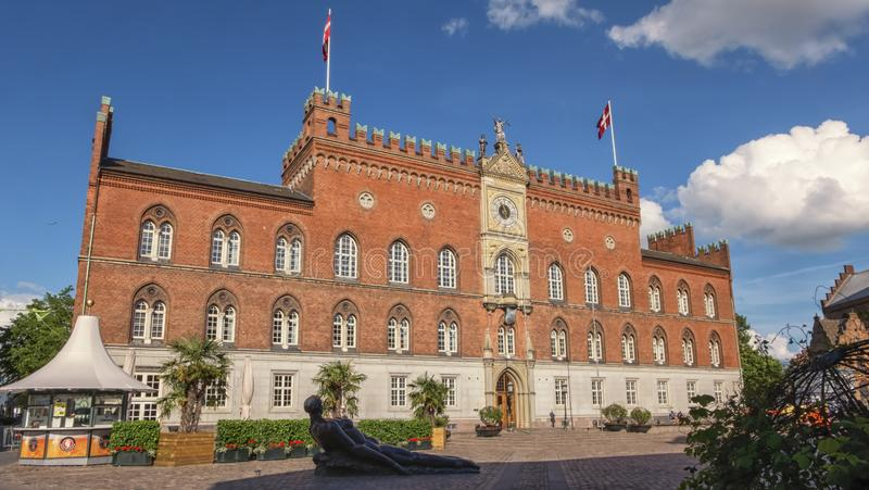 City Hall in Odense, island of Funen, Denmark. City Hall in Odense on the Danish island of Funen by beautiful day, Denmark royalty free stock photography