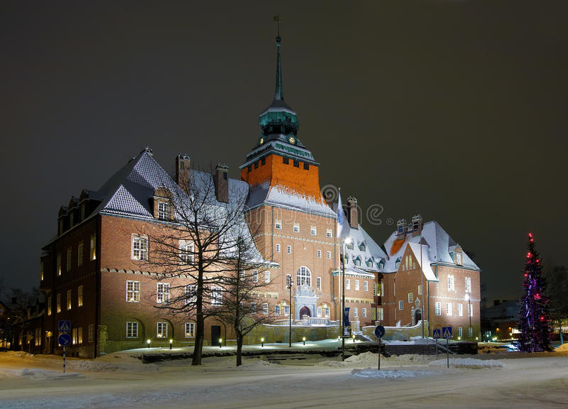 City Hall in Ostersund, Sweden. City Hall in Ostersund at winter evening, Sweden stock images