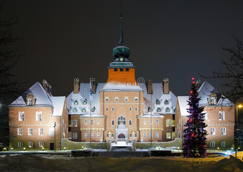 City Hall in Ostersund, Sweden. City Hall in Ostersund at winter evening, Sweden royalty free stock photo