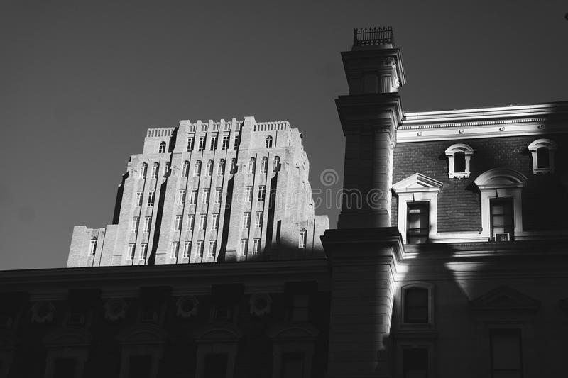 City Hall Philadelphia. City Hall in Philadelphia captured at a low angle as the sun partially graces it royalty free stock images