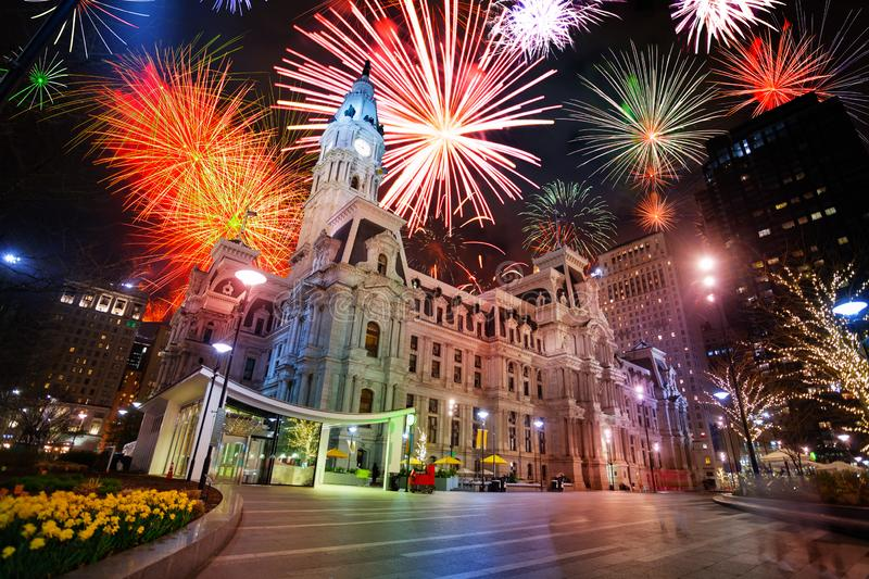 City hall in Philadelphia, PA, USA and fireworks. In the night sky show royalty free stock image