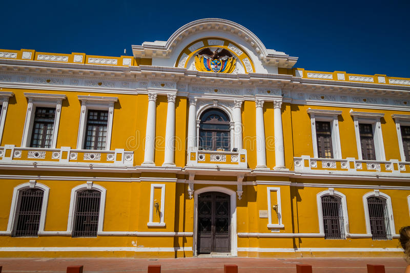 City Hall in Plaza Bolivar, Santa Marta, Colombia. Old and historic City Hall building in Plaza Bolivar in Santa Marta, popular caribbean city in northern stock image