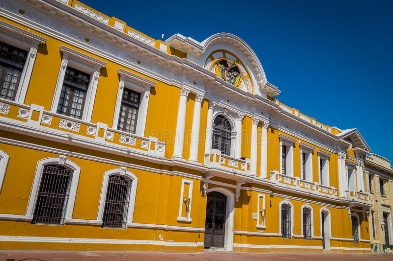 City Hall in Plaza Bolivar, Santa Marta, Colombia. Old and historic City Hall building in Plaza Bolivar in Santa Marta, popular caribbean city in northern stock photography
