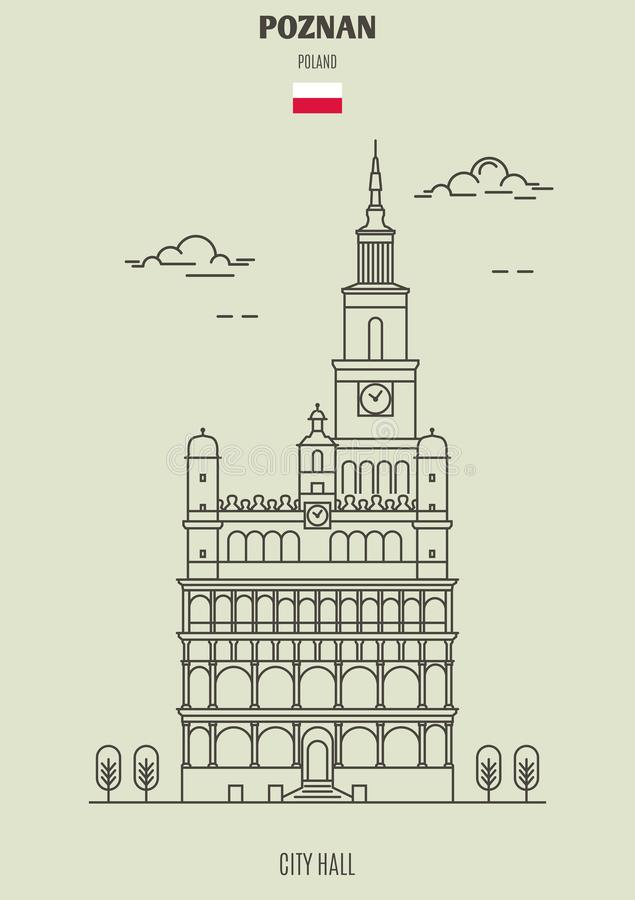 City hall in Poznan, Poland. Landmark icon. In linear style royalty free illustration